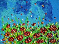 painting of flowers textured painting australian art by SheerJoy