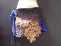 CROCHET WRAP BELT, festival belt, boho over skirt, festival clothing, purple, orange peach doilies, bohemian hip wrap, burning man skirt