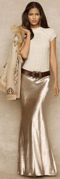 Ralph Lauren - Blue Label Metallic Cable Sweater - Velvet Sharon Skirt @ www. Style Work, Mode Style, Style Me, Ralph Lauren Blue, Ralph Lauren Style, Look Fashion, High Fashion, Womens Fashion, Fashion Hair