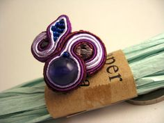 Handmade Embroidered Soutache Ring Bead Embroidery by SoutacheArt, $11.00