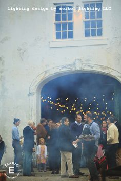 Guests enjoying an indoor-outdoor party at The Mount's stables building. Bistro Lights, Stables, Lighting Design, Getting Married, Indoor Outdoor, My Design, Couples, Building, Party