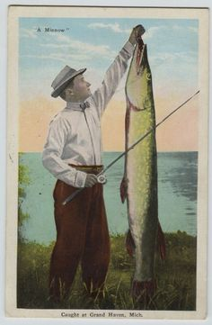 1932 Grand Haven Michigan Exaggeration Huge Northern Pike Fishing Postcard