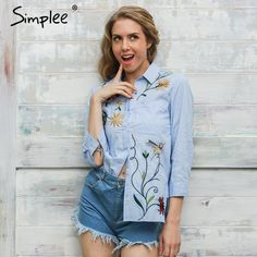Simplee Bird embroidery long sleeve shirt women tops Elegant  blue striped shirt Winter flower blouse winter 2016 chemise femme