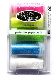 STAMPENDOUS GLITTER KIT - 80s FLASHBACK  Add glitzy accents to cards, scrapbook pages and crafts. Apply over glue, tape or adhesive sheets. The kit contains 5 x 35g glitter pots, neon Magenta, neon Yellow, neon Lime, neon Blue, Multi Crystal.