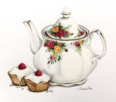 Alexandra Nea Food illustration, Cupcakes and tea. Old Country Roses Images Noêl Vintages, Vintage Images, Tea Cup Art, Tea Cups, Teapots And Cups, Food Drawing, Decoupage Paper, Food Illustrations, Vintage Tea