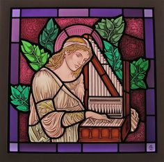 John and Laura Gilroy AMGP specialise in ecclesiastical and high end residential genuine painted stained glass from their studio in Vancouver, BC. Patron Saint Of Music, Edward Burne Jones, Irish Roots, Stained Glass Panels, Jewel Tones, Ancient Art, Some Pictures, Renaissance, Art Nouveau