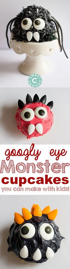 Googly Eye Halloween Cupcakes- these are easy to make with kids and so much fun!
