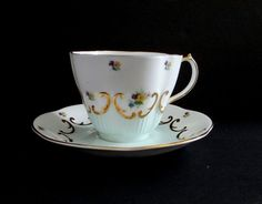 Queen Anne Bone China Tea Cup and Saucer - Turquoise with Flowers, Gold in Antiques | eBay