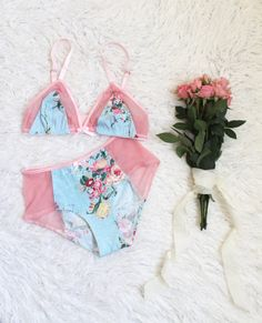 Tropical Floral Lingerie Set in Blue with Sheer Pink by ohhhlulu