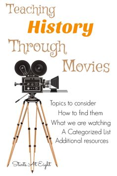 Teaching History Through Movies from Starts At Eight. Teaching History Through Movies is a great way to make history come alive. This landing page tells how we do this, where to get & what movies we are viewing. As we watch and find resources for movies I Middle School History, History For Kids, History Teachers, History Education, High School World History, Art Education, Teaching American History, World History Teaching, World History Classroom