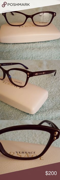 992ed9be4c51 100% authentic Versace eyeglasses with case These glasses are shiny dark  burgundy and gold with
