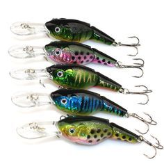 Hot!! Top Grade Lot 5pcs 2 Sections Jointed Fishing Crank Lures SwimBait Bass CrankBaits Tackle Wobblers Hard Bait 9cm 10.6g