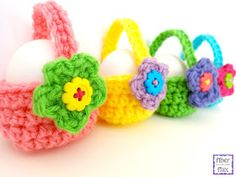 These Little Egg Baskets are a fun project that can hold a single egg or perhaps a treat.  An easy to crochet basket is finished with...