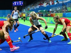 Great Britain forward Sophie Bray battles for the ball with Spain defender Xantal Gine and forward A... - Guy Rhodes, USA TODAY Sports