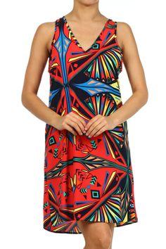 Geometric print, V-neck, sleeveless, knee length, shift dress.