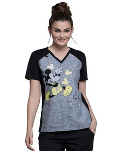 Cherokee Tooniforms Women's V-Neck Knit Panel Mickey Mouse Print Scrub Top Small Print