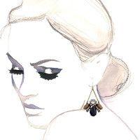 Vintage Bee Chandelier Earrings in Navy Blue