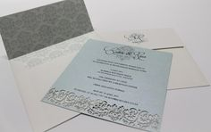 A simple but effective laser cut invitation with a personalised, lined envelope.