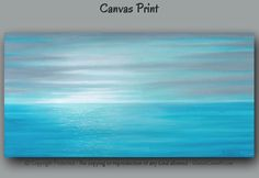 Teal and gray sunset/seascape canvas art print for your home or office decor. Up to 72 wide. Abstract Ocean Painting, Seascape Art, Small Art, Large Wall Art, Office Wall Art, Office Decor, Canvas Art Prints, Canvas Wall Art, Coastal Wall Art