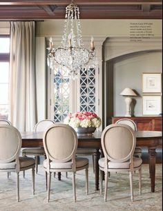 Gray dining room from Country French Magazine