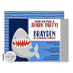 free printable shark party invitations keenan s 5th birthday in