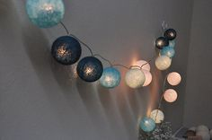 20 Sweet blue tone cotton ball string lights Assembled by ginew