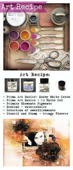 Finnabair: Art Recipe: Art Secrets - scrapbook page for HDP