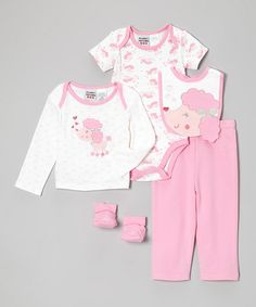 Another great find on #zulily! Pink Lamb Five-Piece Layette Set - Infant by Peanut Buttons #zulilyfinds