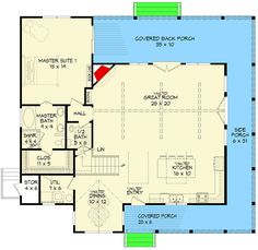 Expanded Back Woods 3 Bed House Plan - 68505VR floor plan - Main Level