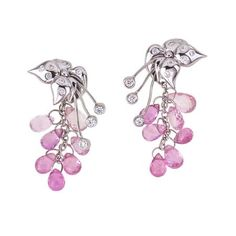 DAINTREE RAINFOREST COLLECTION ~ Sweetpea Flower Earrings with pink sapphire briollettes and diamonds