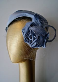 Vintage 1950s Ice Blue Silk Couture Hat by Lorie by xtabayvintage, $125.00