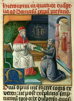 St. Jerome handing over his work to Pope Saint Damasus.  Miniature at the beginning of the Gospels from an Illuminated Bible.