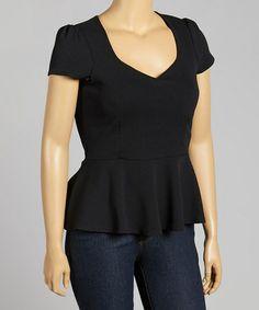 Loving this Black Cap-Sleeve Peplum Top - Plus on #zulily! #zulilyfinds