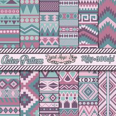 12 Color View Aztec Pattern Paper pack Ikat by DigitalMagicShop, $2.50
