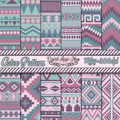 12 Color View Aztec Pattern Paper pack Ikat by DigitalMagicShop, $2.50