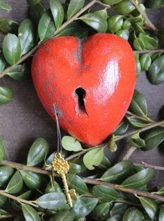 Red Heart with Keyhole & Key Clay by Rafael Pineda Mexican Folk Art Shabby Chic #HandMade