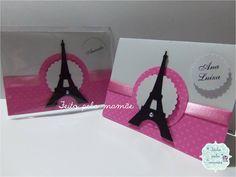 Convite no tema Paris <br> <br>Dimensões: 11 cm largura x 8 cm altura. <br> <br>Pode ser personalizado em qualquer tema.