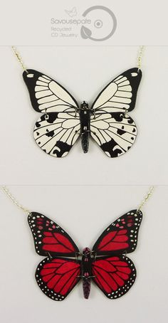 924f1310e VIVIANE reversible recycled CD necklace | Fushia pink ans black Monarch  butterfly - Black & white Papilio dardanus butterfly | Jewelry by  Savousepate ...