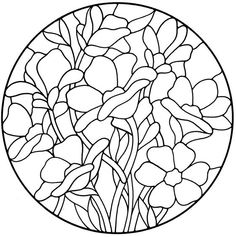 Floral Stained Glass Pattern Book Stained Glass Flowers, Stained Glass Designs, Stained Glass Panels, Stained Glass Patterns, Mosaic Patterns, Stained Glass Art, Flower Outline, Cd Art, Colouring Pages