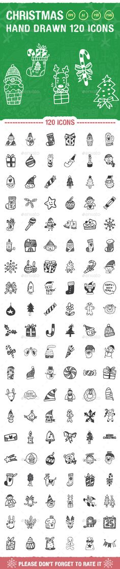 120 Hand Drawn Christmas Icons - Seasonal Icons
