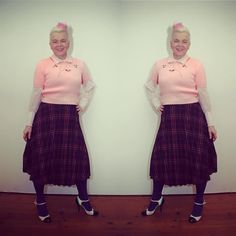 pink and plaid! #fashion #vintagefashion #vintage #vintagewear #womenwear #fashionista #vintagefashionista #pompadourandvintage #pompadour #fashionblogger #styleblogger #50plus #fiftyup #50up #beautiful #style #beauty #stunning #gorgeous #clothes #vintageclothes #amazing #cool #whatiwore #whatiwear #cute #shopping #2hands #outfit #mylook #lifestyle #lookoftheday #todaysoutfit #outfitpost #bestoftheday #chic