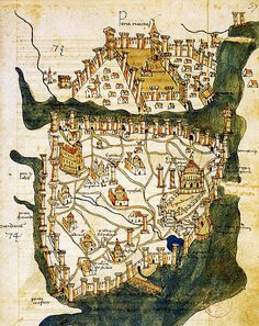 Map of Constantinople, Byzantine Empire — by Florentine cartographer Cristoforo Buondelmonti and it is the oldest surviving map of the city (modern day Istanbul, Turkey) Decoupage Vintage, Vintage Maps, Antique Maps, Ancient Maps, Ancient History, Map Old, Art Carte, Map Globe, Fantasy Map