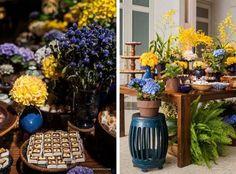 Paleta de cores azul e amarelo