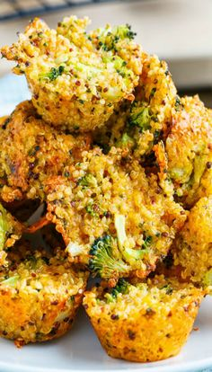 Broccoli and Cheddar Quinoa Bites  2/3 cup quinoa, rinsed 1 cup water 2 cups broccoli, chopped 2 cups cheddar cheese, shredded 2 eggs, lightly beaten 1 tablespoon grainy mustard salt, pepper and cayenne to taste directions Bring the quinoa and water to a boil, reduce the heat, simmer until tender and the water has been absorbed, about 15 minutes and let cool. Mix everything, spoon into mini muffin pans and bake in a preheated 350F oven until lightly golden brown on top, about 15-20 minutes.