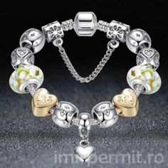 Beautiful, shiny gold and silver colered heart bracelet with European style charms. Bracelet is 20 cm in length. Silver Bangle Bracelets, Heart Bracelet, Handmade Bracelets, Bangles, Wedding Bracelets, European Fashion, Fashion Bracelets, Jewelry Accessories, Gold Jewelry