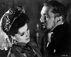 Vincent Price and Debra Paget in The Haunted Palace (1963), via silverscreams.