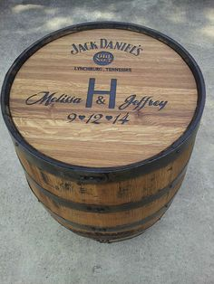 Personalized Engraved Wedding Barrel. Can be used as Guest Book.