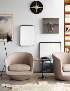 U-Turn Swivel Chair - option for living room grouping (2) in leather or velvet with either sofa and with CH bench