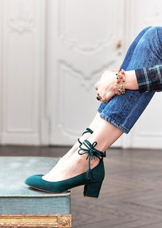 Sezane hunter green block heels