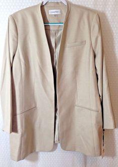 18fa8c870af Calvin Klein Women s Plus Size 24W Jacket Blazer Boyfriend Open Front Poly  Blend  fashion